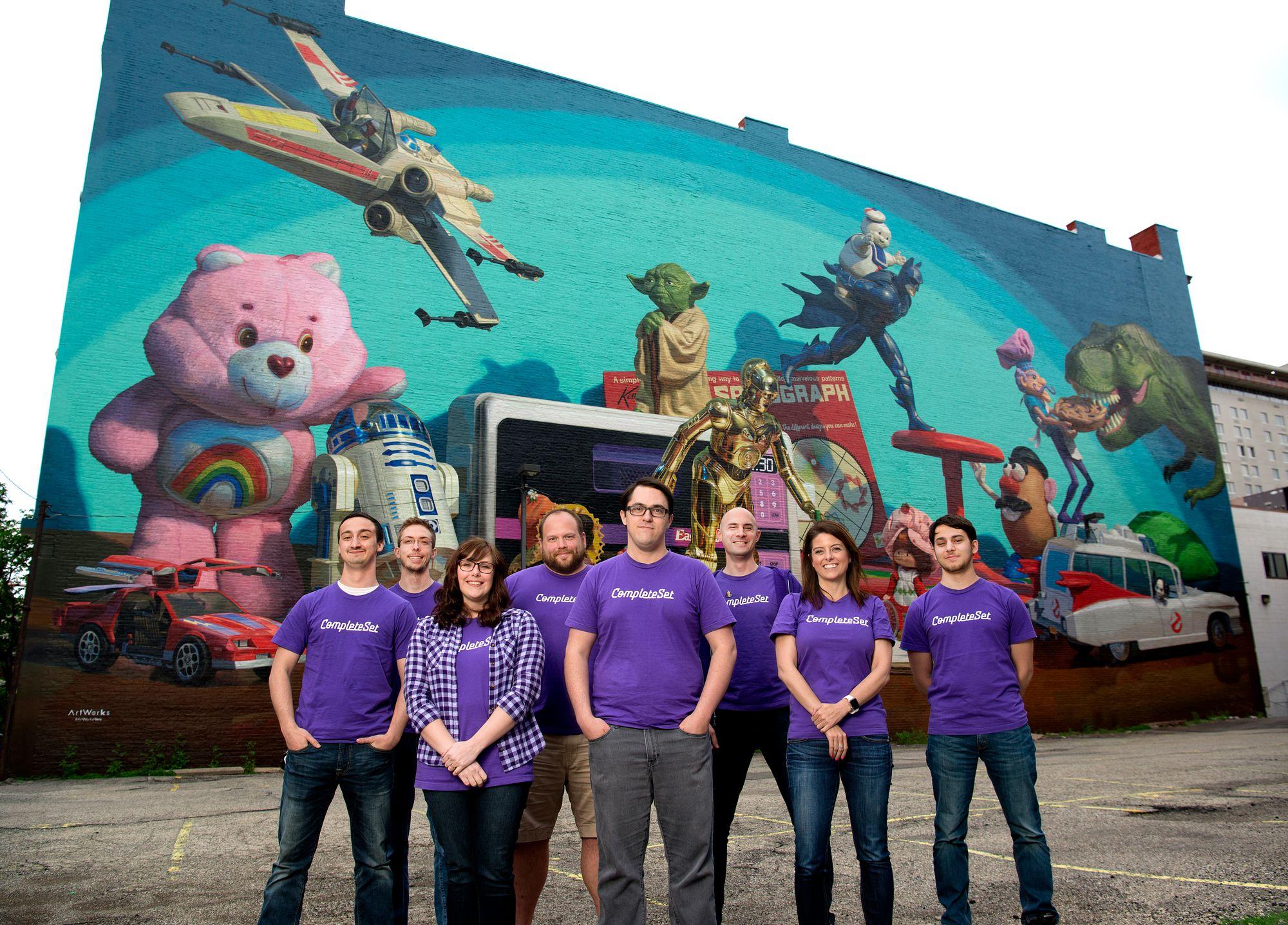CompleteSet team in front of the Cincinnati Toy Heritage Mural, 2017